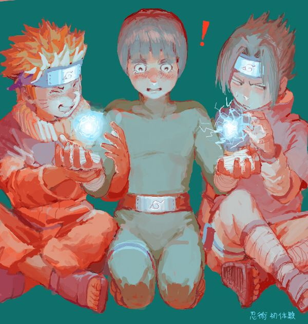 Naruto and Sasuke letting Rock Lee have a taste at Ninjutsu
