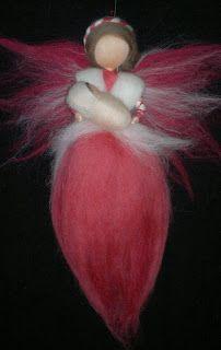 Fairy with baby, wool roving, handmade Waldorf inspired