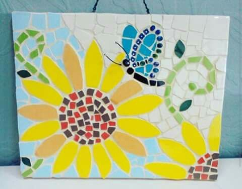 25x20 cm Mosaic wall plaque, Sunflower and Butterfly