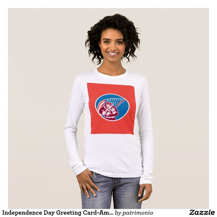 "Independence Day Greeting Card-American Patriot Ho Long Sleeve T-Shirt. Women's sweatshirt showing an illustration of an American patriot brandishing a flag set inside a circle on isolated background with the words ""United Forever, Home of the Brave, Happy Independence Day, Land of the Free"" #independenceday #4thofjuly #sweatshirt"