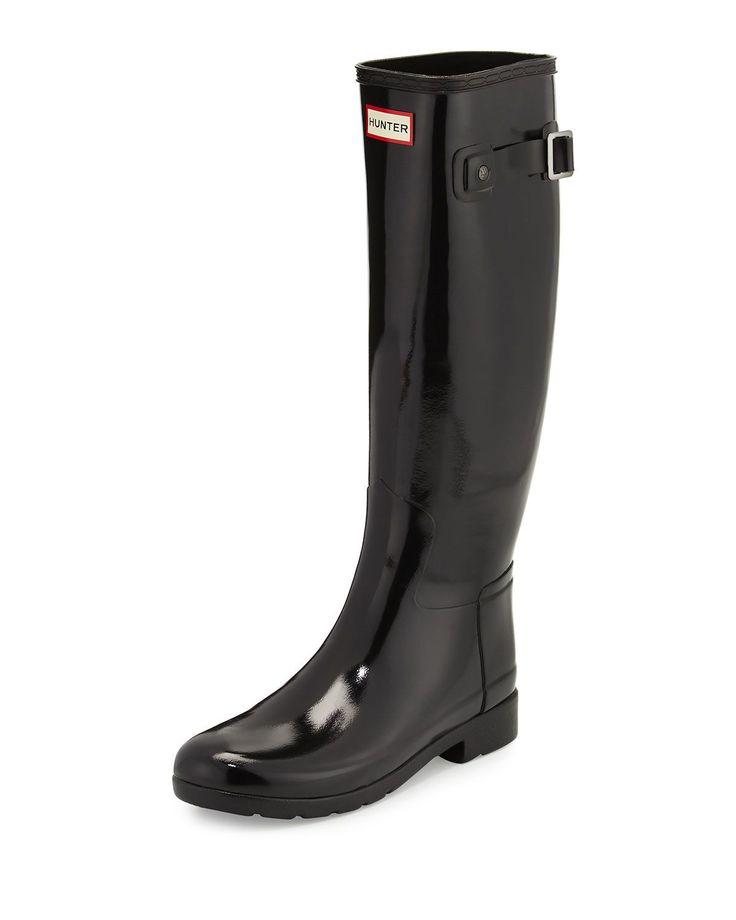 Original Refined Gloss Rain Boot, Black, Women's, Size: 36.0B/6.0B - Hunter Boot