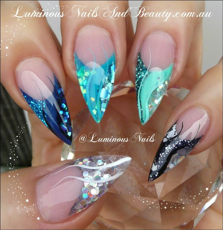 Luminous Nails: Luminous Nails Advanced Nail Art Designs EBook. Available from www.luminousnailsandbeauty.com.au/ebook Navy, Teal, Mint, Black and Silver Acrylic Nails