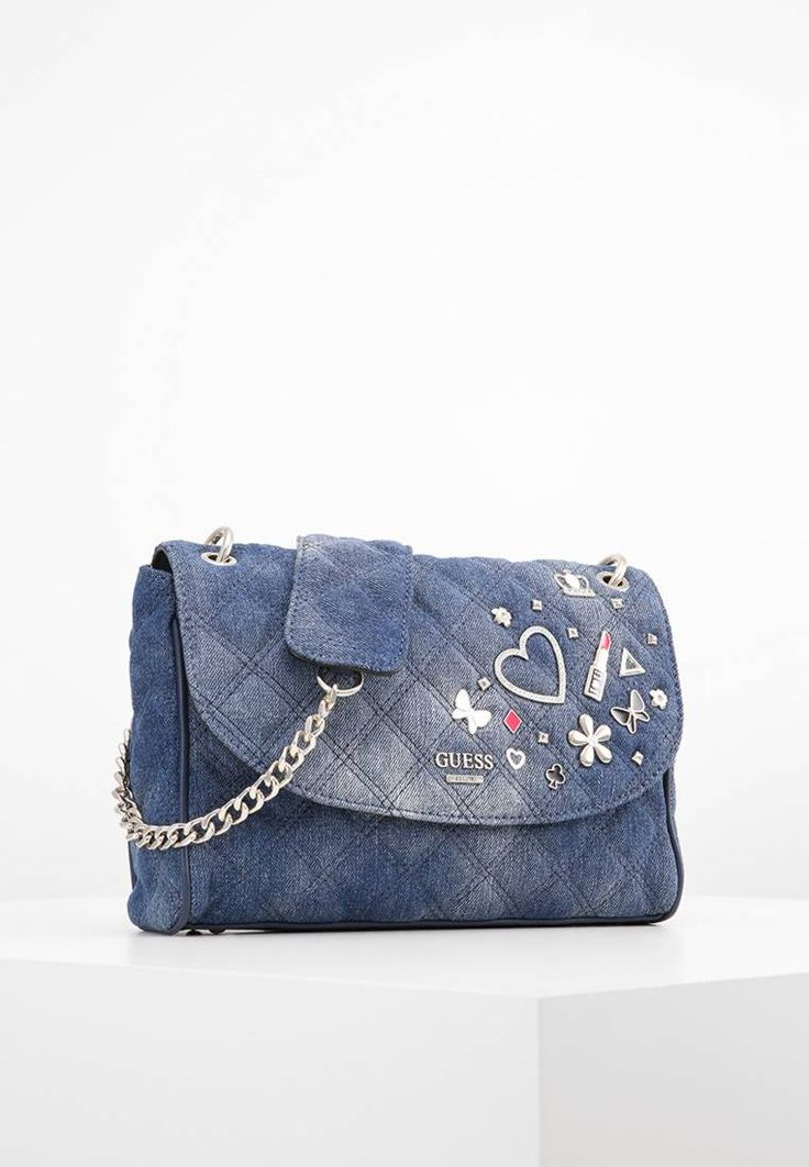 """Guess. DARIN - Across body bag - denim. Fastening:Magnet. Compartments:mobile phone pocket. length:10.0 """" (Size One Size). width:3.0 """" (Size One Size). Lining:textile. carrying handle:23.0 """" (Size One Size). Fabric:Denim. Outer material:..."""
