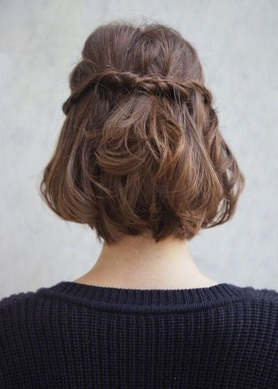 10 Drop-Dead Gorgeous Ways to Style Short Hair: Another super-cute way to style a super-short bob? Grasp a one-inch wisp of hair on both sides of your center part and twist each tightly, leaving the ends untouched. Cross the twists at the back of your head and combine them with bobby pins.