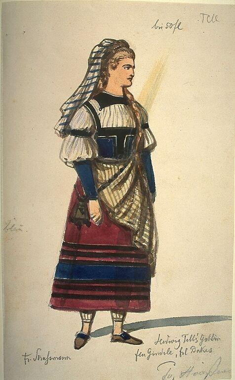 Kostümentwurf für die Figur der Hedwig, Tells Gattin aus 'Wilhelm Tell' von Friedrich von Schiller | Franz Gaul | Bildindex der Kunst & Architektur