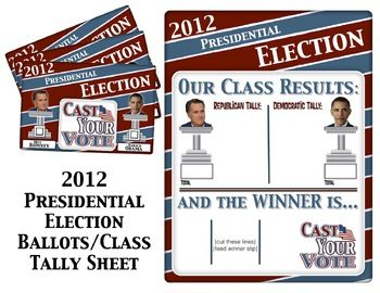 Awesome! A printable classroom ballot for the presidental election and class tally sheet!