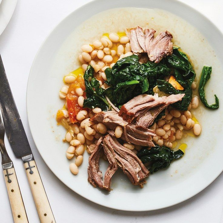 Slow-Cooked Pork Shoulder with Braised White Beans (Coco nano beans from Tuscany or cannellini) | Bon Appétit March 2017 on epicurious