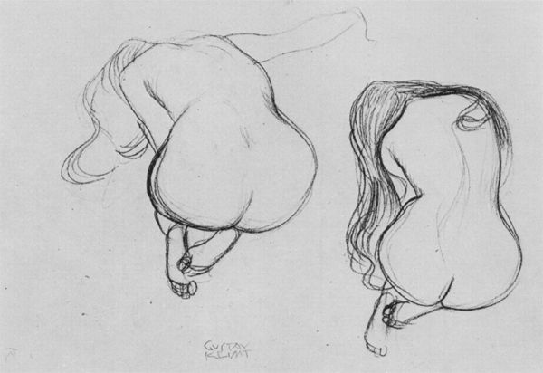Two studies of a seated female nude from behind by Gustav Klimt. 1901