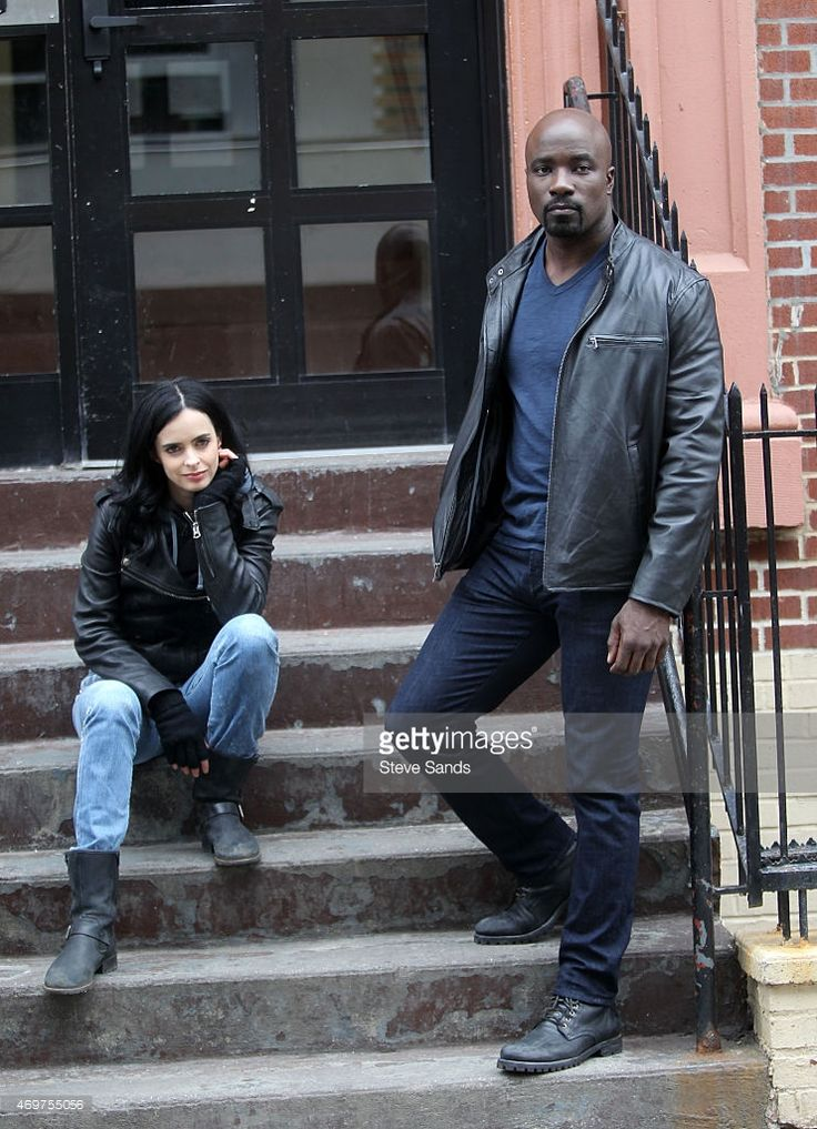 Mike Colter as Luke Cage and Krysten Ritter as Jessica Jones filming... News Photo | Getty Images