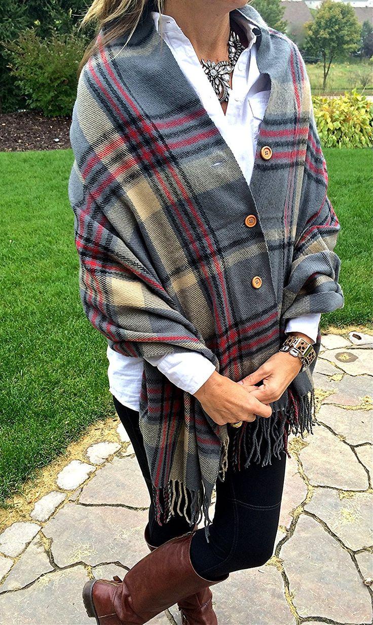 Pretty Simple Plaid Button Blanket Scarf Shawl Womens Wrap (Grey) at Amazon Womens Clothing store