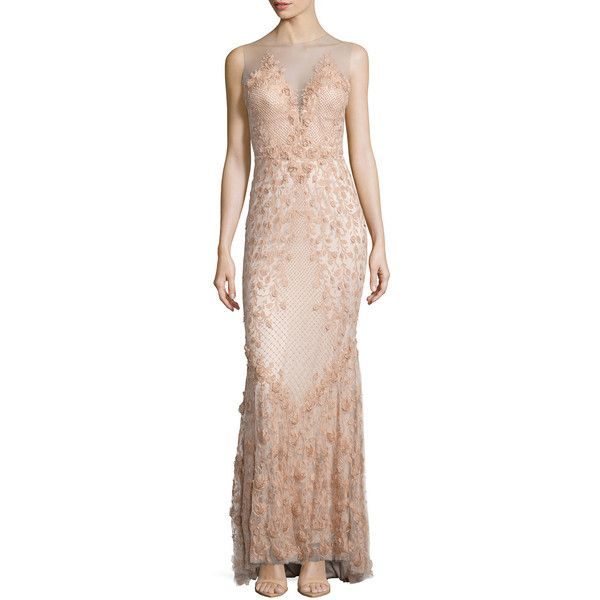Catherine Deane Sleeveless Embroidered Gown ($1,680) ❤ liked on Polyvore featuring dresses, gowns, antique rose, pink sweetheart dress, sweetheart neckline dress, pink sleeveless dress, pink gown and sweetheart rose dresses