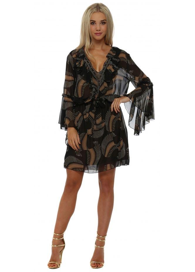 MY STORY Black Chiffon Ruffle Printed Beaded Mini Dress