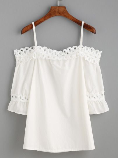 ❤️ mine! White Cold Shoulder Appliques Hollow Out Ruffle Blouse -SheIn(Sheinside) Mobile Site