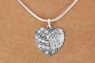 Volleyball Jewelry - Volleyball Heart Crystal Necklace