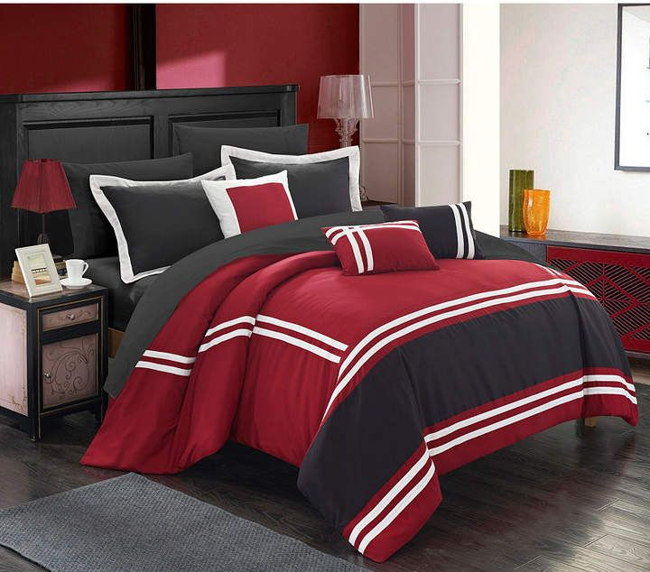 King Black Chic Home Duke 10 Piece Comforter Set Complete Bed in a Bag Pieced Color Block Patterned Bedding with Sheet Set and Decorative Pillows Shams Included