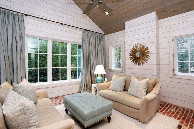 Whitewashed Shiplap Walls With Stained Wooden Cathedral