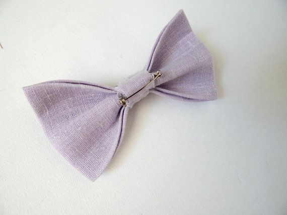 Wedding Bow Tie Pins in Lilac Linen Groom & by CurlyHairMonsters