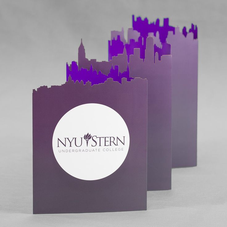 Laser-cut foldable banner designed for NYU Stern School of Business by Josh Korwin of Three Steps Ahead.