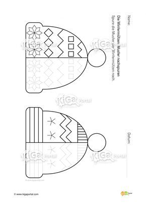 DE-Kindergarten-KiGaPortal-Winter-Winterkleidung-Wintermuetzen-Muster-Schreibvorbereitung-Schulvorbereitung-Grafomotorik-Arbeitsblatt-nachspuren-schreiben-klein