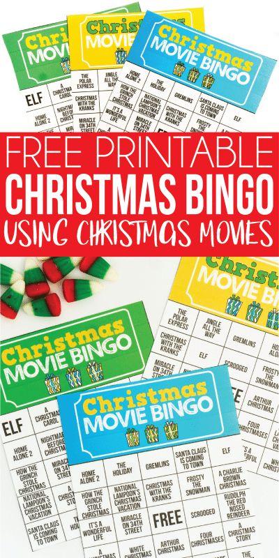 Free Printable Holiday Movie Christmas Bingo Cards   Christmas bingo, Christmas bingo game ...