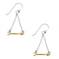 Gold Plated Silver Love Arrow Earrings