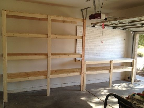 Before and after. Garage shelves