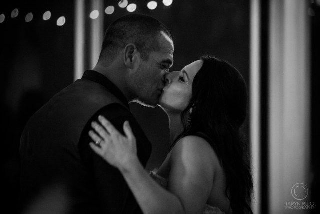 Bride and groom kissing on the dance floor @Sublime Point   Candid Wedding Photography   Taryn Ruig Photography   Weddings, Portraits and Lifestyle Photography   Sydney, Australia   www.tarynruig.com