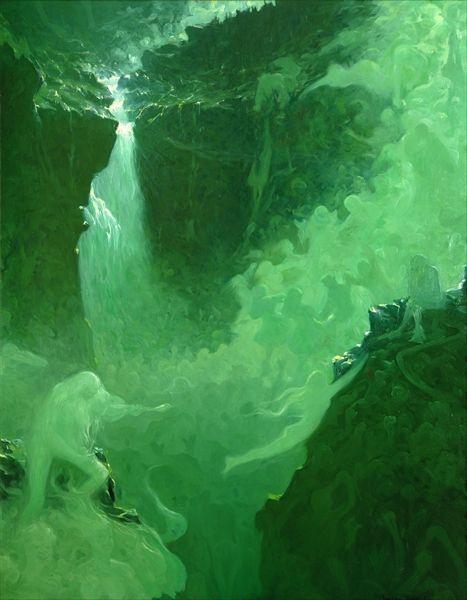 A monochromatic painting by Gustav Wentzel Rjukan. Gustav uses many shades  of green to create  WaterfallsColor SchemesOil ...