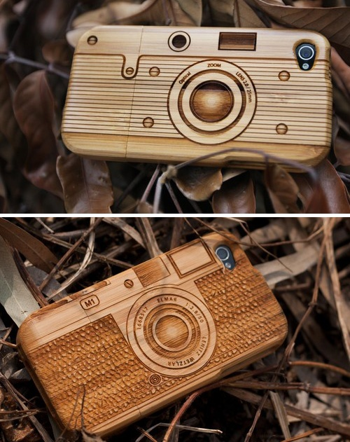 """I don't have a """"smart"""" phone, but these phone cases are amazing aren't they. Etched from wood, with cute details, I would love to put my phone in this case."""