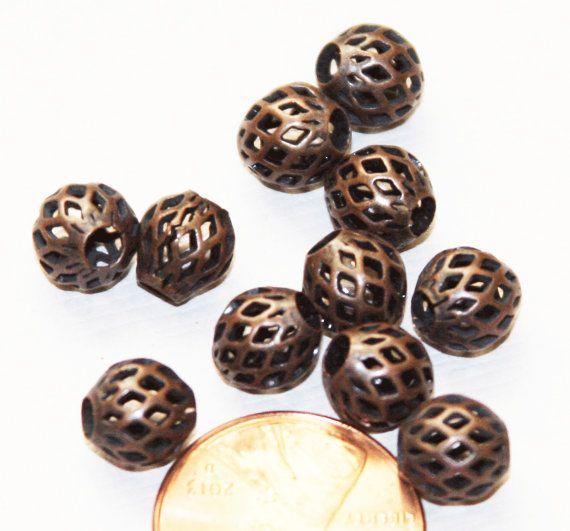 20 stuks van antiek koper rond filigraan kralen door yadanabeads