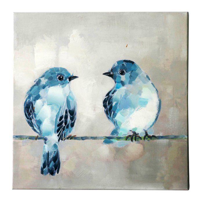 Two Birds Painting Print On Canvas Bird Paintings On Canvas Bird Art Art Painting