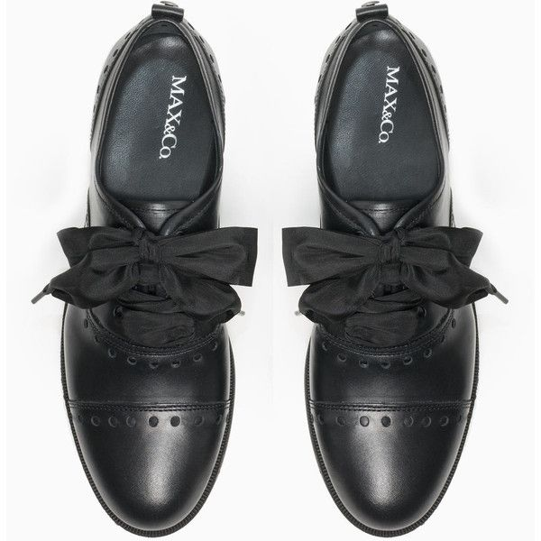 MAX&Co. Openwork lace-up leather shoes ($320) ❤ liked on Polyvore featuring shoes, oxfords, special occasion shoes, oxford shoes, leather upper shoes, leather lace up shoes and platform shoes
