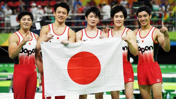 08.08.16 Koji Yamauro, Yusuke Tanaka, Kohei Uchimura, Ryohei Kato and Kenzo Shirai of Japan pose for photographs after winning the gold medal during the men's team final. Russia took silver and China the bronze. USA, after many lackluster performances riddled with mistakes, settled for 5th. #Rio2016
