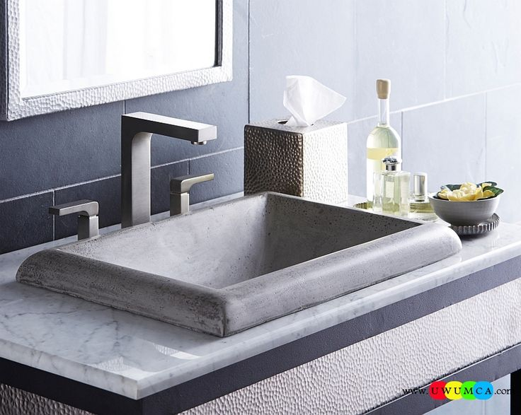Bathroom:Contemporary Modern Artisan Crafted Sinks Handcrafted Vessel Metal Sink Bathroom Interior Furniture Decor Design Ideas Modern Angular Montecito SInk In Ash Eco-Conscious, Artisan Crafted Sinks Sparkle With Contemporary Class