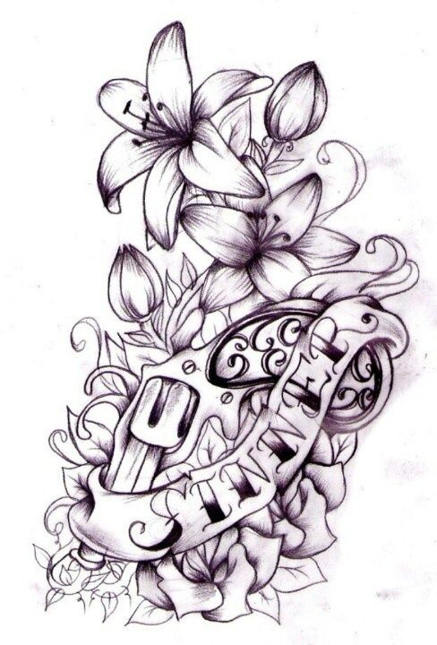 gun tattoo id just swap hibiscuss for the lilys ink one is