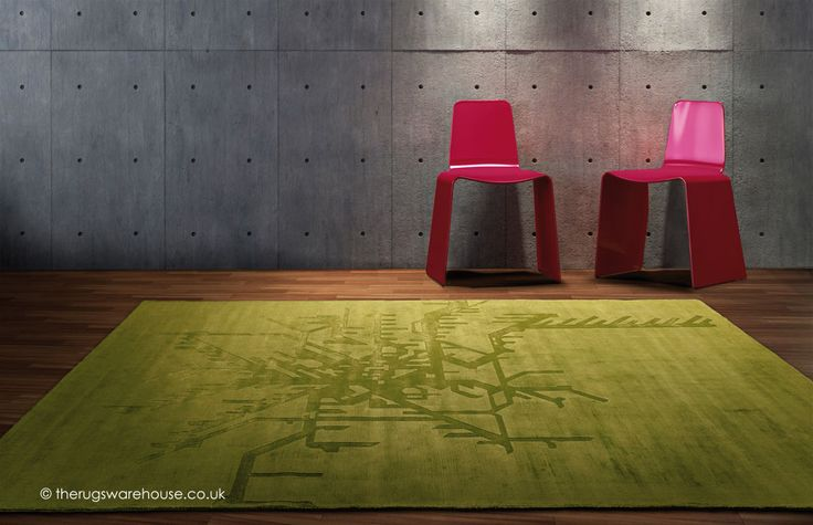 Metropolitan Green Rug was inspired by transport network maps (handmade, 100% viscose) http://www.therugswarehouse.co.uk/green-rugs/metropolitan-green-rug.html
