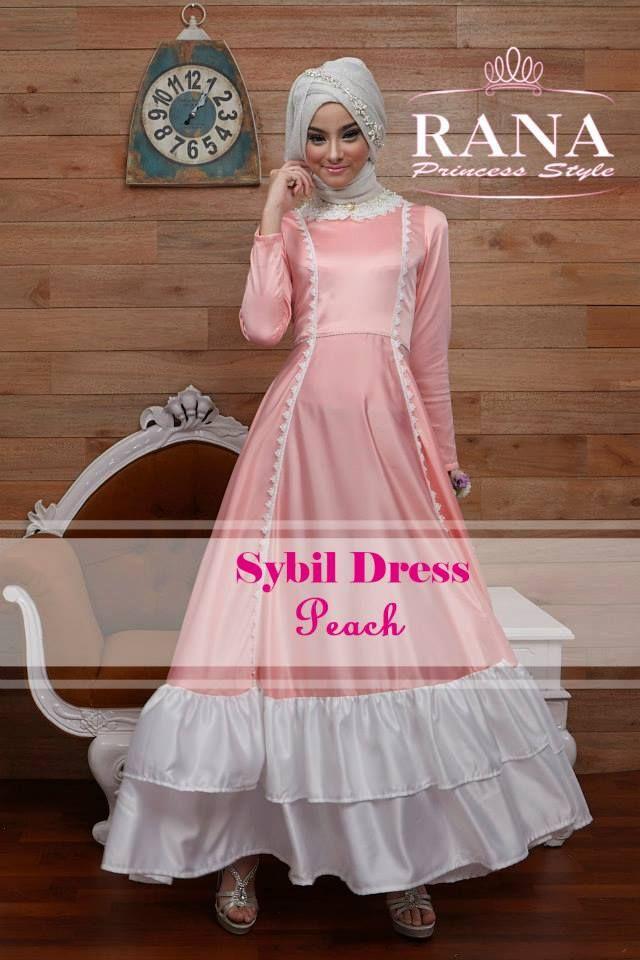 Dress Gamis Modern Terbaru Sybil Peach