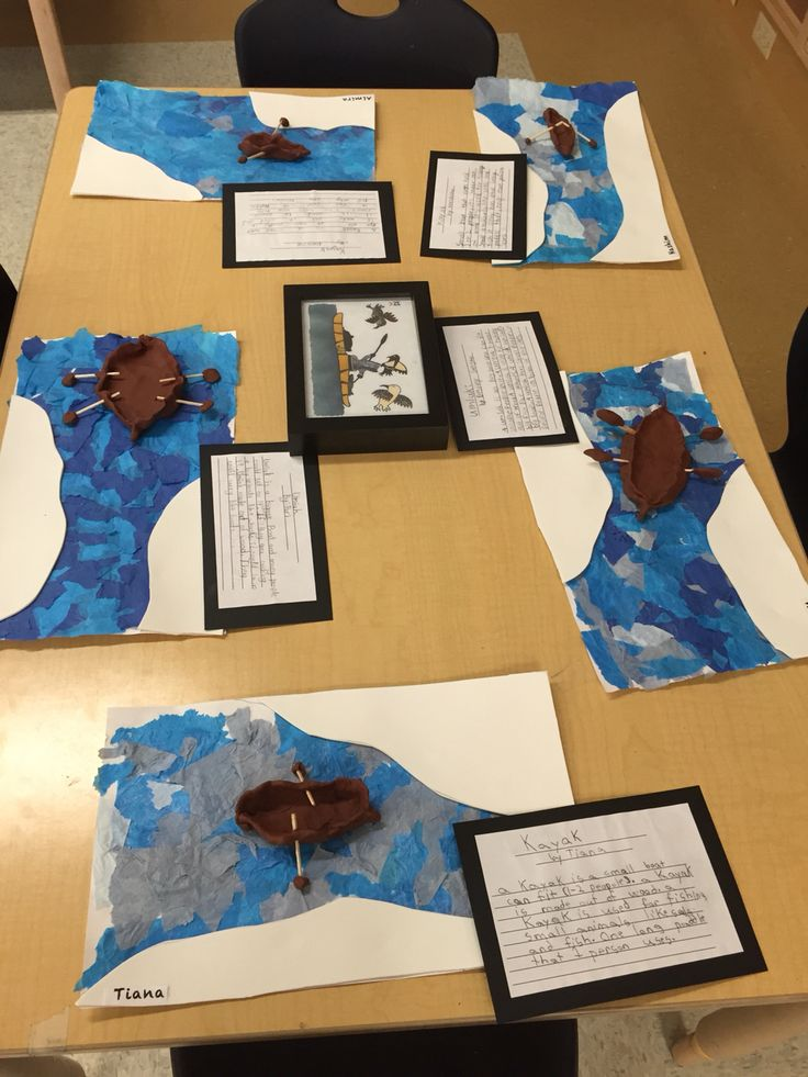 Inuit kayak art made by grade 2 students for our Arctic Museum!