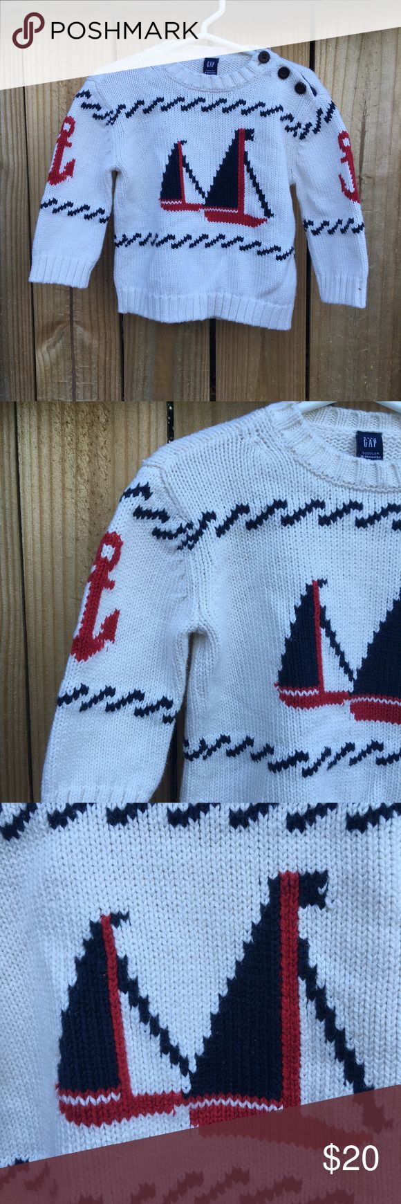 Baby Gap boys Anchor sweater sz: 12-18 months How adorable is this little piece? Anchor Baby Gap baby boy sweater sz: 12-18 months. Worn once, no flaws as pics reflect. Price firm ⚓️ GAP Shirts & Tops Sweaters