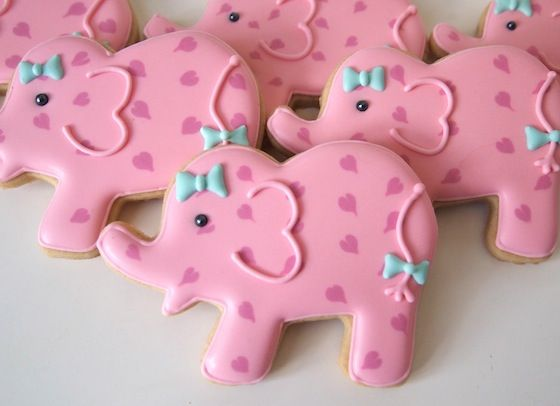 Pretty Pink Elephants Cookies to Celebrate a Baby Girl | Make Me Cake Me... absolutely adorable!