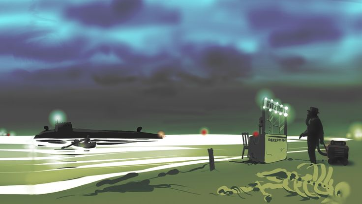 Concept art of the Inspector arriving at the check in desk for The Fitzroy.