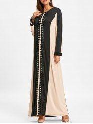 Color Block Lace Insert Arabic Maxi Dress