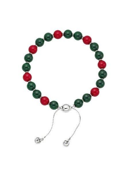 Bracciale stile rosario buddhista con perle di legno rosse e verdi e inserti in argento a forma di campanella by Gucci