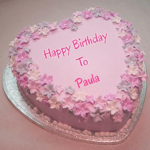 Beautiful Pink Flower Birthday Cake With Your Name