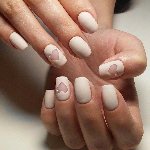 Beige gel polish, Cool nails, Easy nail designs, Evening nails, Heart nail designs, Hearts on nails, Matte nails, Plain nails