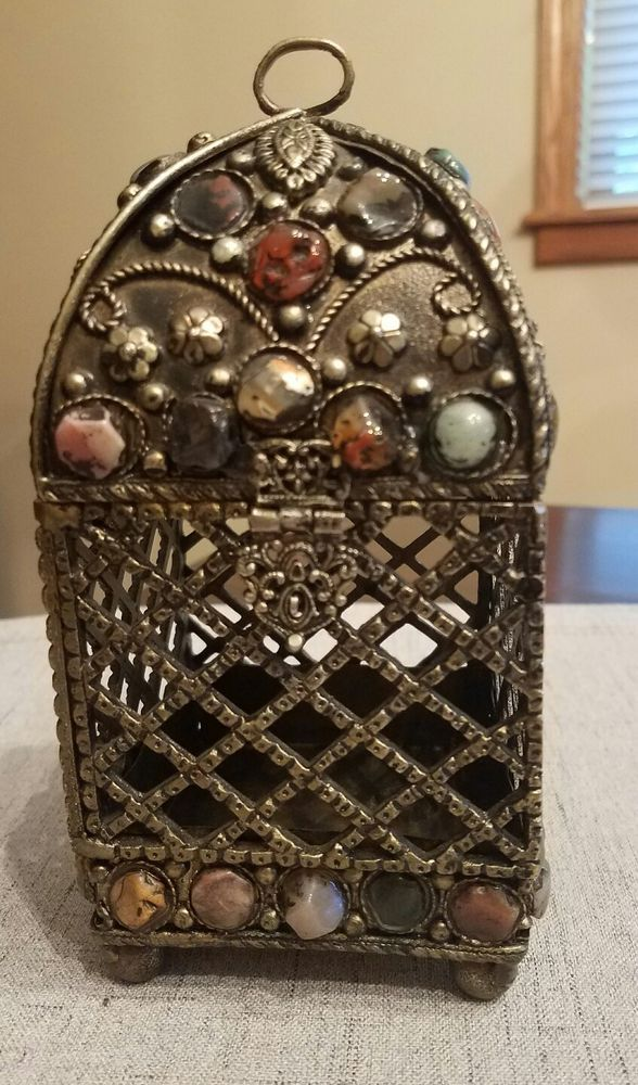 Gothic  Metal Candleholder with polished stones and  great  detail. #Gothic