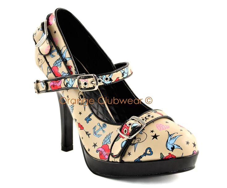 PINUP Rockabilly Tattoo Print Cream High Heels Shoes 885487522975 | eBay