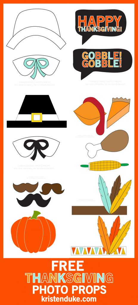 Thanksgiving photo booth free printables. Turkey and pilgrims and indians, oh my!