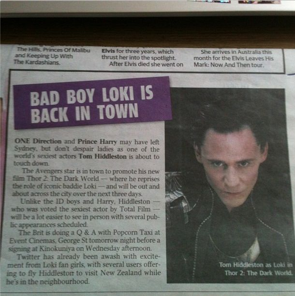 Tom Hiddleston in Australian newspapers! @Jalyn Matheney Tom and 1D in the same article!!