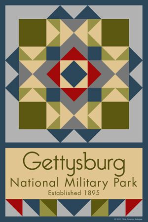 Gettysburg National Military Park Quilt Block designed by Susan Davis. Susan is the owner of Olde America Antiques and American Quilt Blocks She has created unique quilt block designs to celebrate the National Park Service Centennial in 2016. These are the first quilt blocks designed specifically for America's national parks and are new to the quilting hobby.